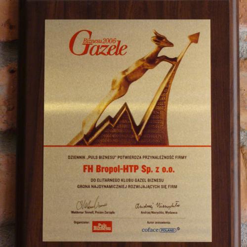 Wyróżnienie Gazelą Biznesu 2006